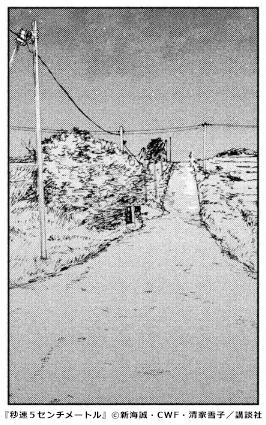 『秒速5センチメートル』通学路のさとうきび畑 コマ画像