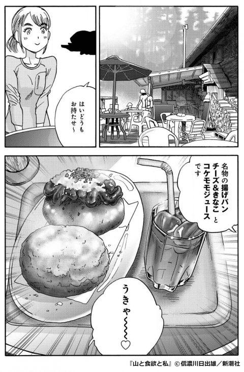 『山と食欲と私』「揚げパン チーズ&きなこ」と「コケモモジュース」のセット
